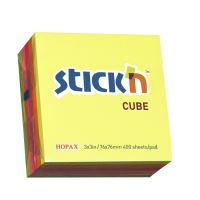 Samolepící bločky Stick'n 76x76mm, Neon mix, 400 lístků