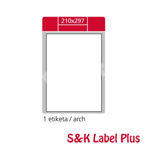 Samolepící etikety SK LABEL Plus A4 210 x 297 mm, 100 archů 1