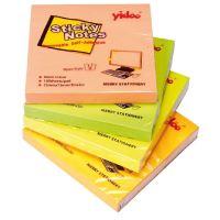 Samolepící bloček Auro 75x75mm, neon žlutý, 100 lístků