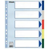 Barevné rozlišovače Esselte A4 Maxi, plast, 5 dílů, mix barev