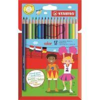 Barevné pastelky STABILO Color, 18 různých barev, šestihranné