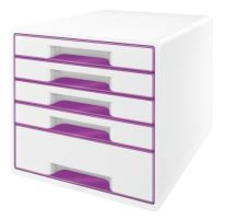 Zásuvkový box Leitz WOW, 5 zásuvek, fialový