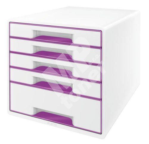Zásuvkový box Leitz WOW, 5 zásuvek, purpurový 1