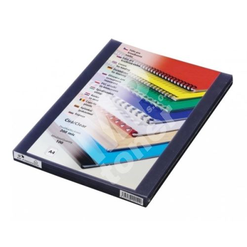 Přední fólie pro kroužkovou vazbu PRESTIGE, A4, 200 mic, čirá, 100 ks 1