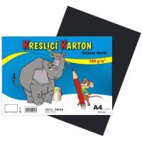 Kreslící karton A4, 180g, černý, 50 listů