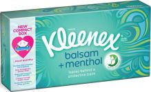 Kleenex Balsam + Menthol hygienické kapesníky s vůní mentolu v krabičce 72 kusů