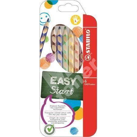 Barevná pastelka Easycolours, HB, trojhranná, pro leváky, 6ks/bal., STABILO 1