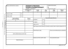 Záznam o provozu vozidla osobní dopravy A5, číslovaný, 100 listů, OP1177