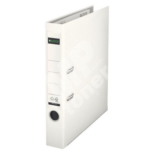 Pákový pořadač Leitz 180, A4, 52 mm, PP/karton, se spodním kováním, bílý 1