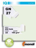 Barevný papír IQ GN27, A4 160g pastelová světle zelená 1bal/250 listů