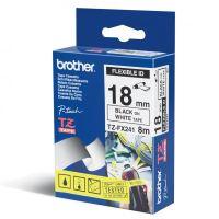 Páska do štítkovače Brother TZE-FX241, 18mm, černý tisk/bílý podklad, originál