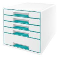 Zásuvkový box Leitz WOW, 5 zásuvek, ledově modrý
