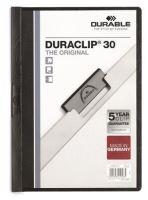 Desky s rychlovazačem Durable Duraclip 30, černá, s klipem, A4