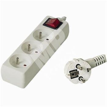 Prodlužovací přívod 230V, 7m, 3 zásuvky + vypínač 1