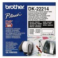 Papírová role Brother DK22214, 12mm x 30.48m, bílá, 1 ks, pro tiskárny štítků QL