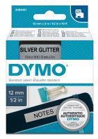 Páska Dymo D1 12 mm x 3m, černý tisk/stříbrný podklad, 2084401