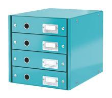 Zásuvkový archivační box Leitz Click-N-Store, 4 zásuvky, ledově modrý
