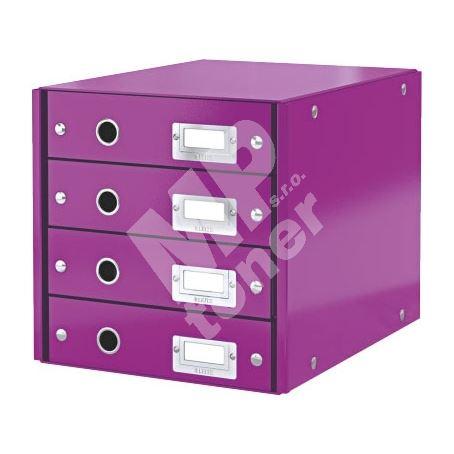 Zásuvkový archivační box Leitz Click-N-Store, 4 zásuvky, purpurový 1