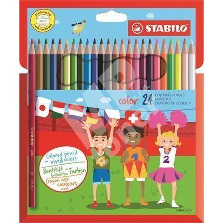 Barevné pastelky Color, šestihranné, 24 různých barev, STABILO 1
