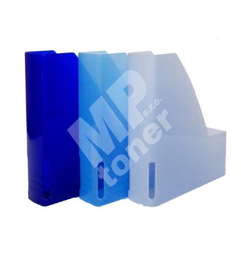 Pořadač na dokumenty A4, plastový 6 cm, magazín box, poloprůhledný matně tmavě modrý 1