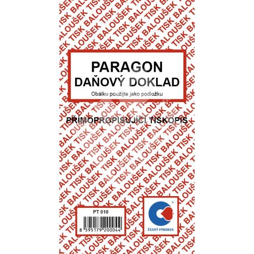 Paragon daňový doklad samopropis A6 PT-010 / 50 listů jeden blok 1
